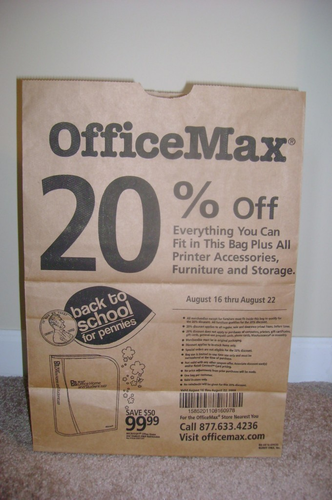 Office Max Brown Paper Bag Ad