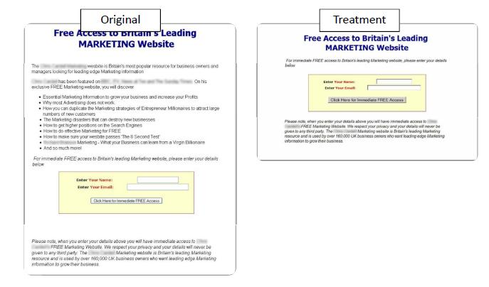 Landing page treatment 3