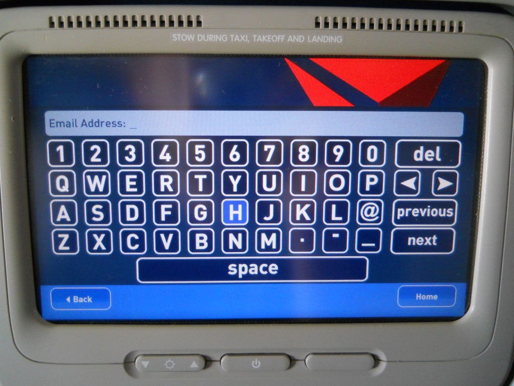 Delta In-Flight Email Registration form