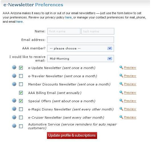 AAA Arizona Email Preferences page 2