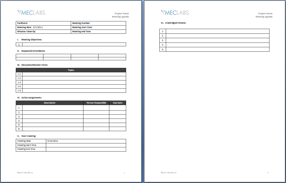 Meeting Agenda Template How to run more effective and efficient – Template for Agenda