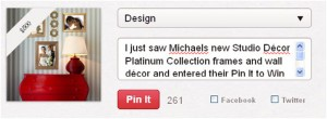 Michaels Contest Pin