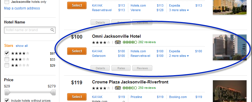 kayak-comparative-pricing