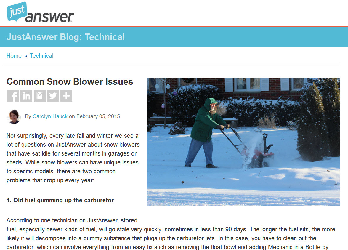 JustAnswer Snowblower blog