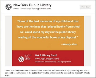Library-related quotes increase library card sign-ups by 35% and generate 500x the average amount of shares