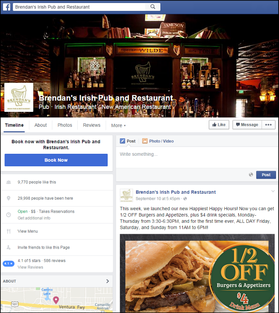 Irish Pub Facebook