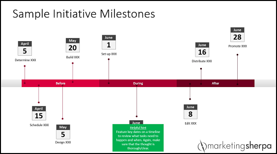 Sample Initiative Milestones by MarketingSherpa