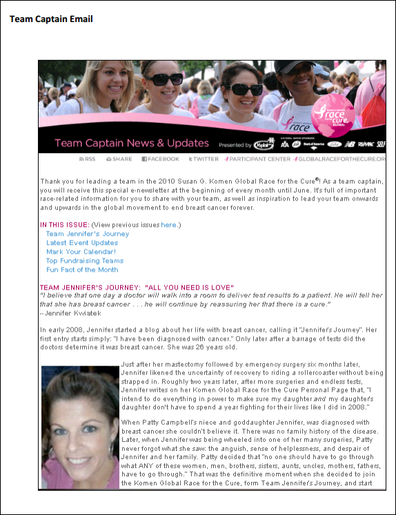 Susan G. Komen for the Cure team captain email
