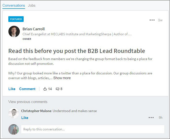 B2B Lead Blog Conversations