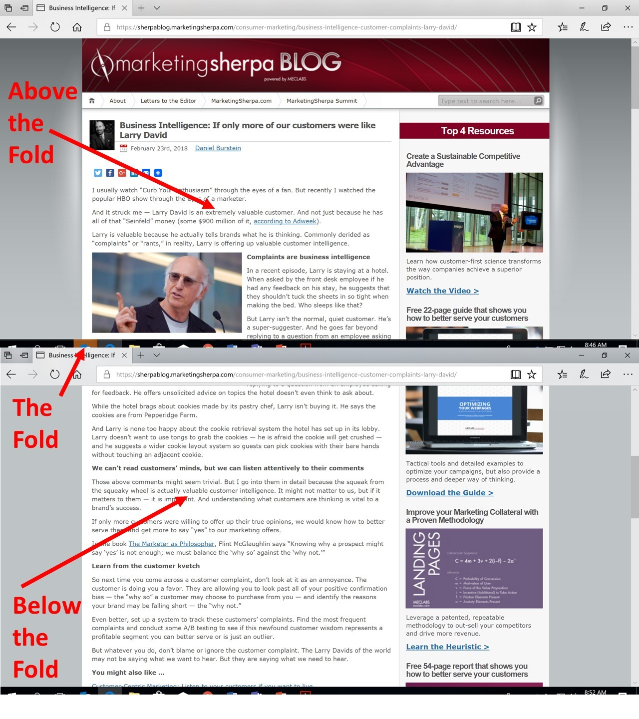 Marketing 101: What is above the fold? | MarketingSherpa Blog