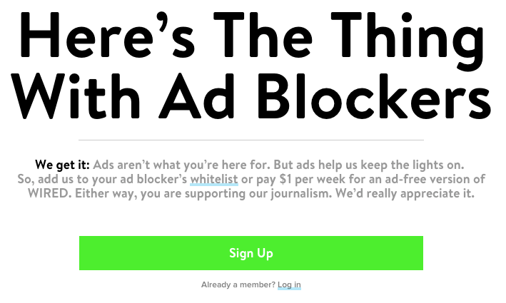 ad blocker notice Wired mag